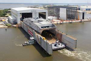 USNS Spearhead being launched at Austal USA