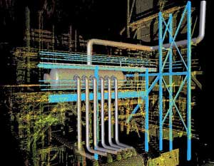 Pipe model superimposed into a point cloud