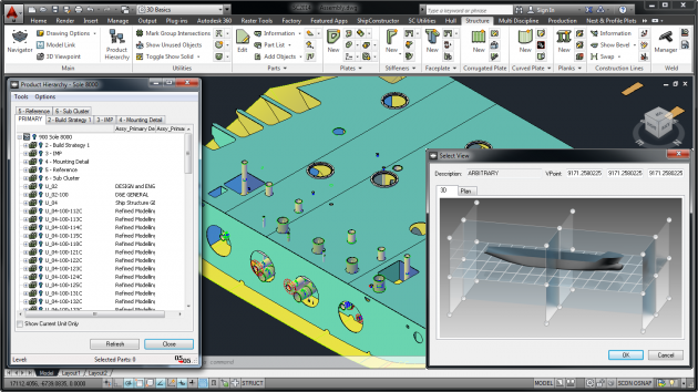 AutoCAD based ShipConstructor software interface