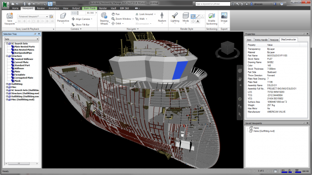 Autodesk Navisworks Model showing ShipConstructor attribute information