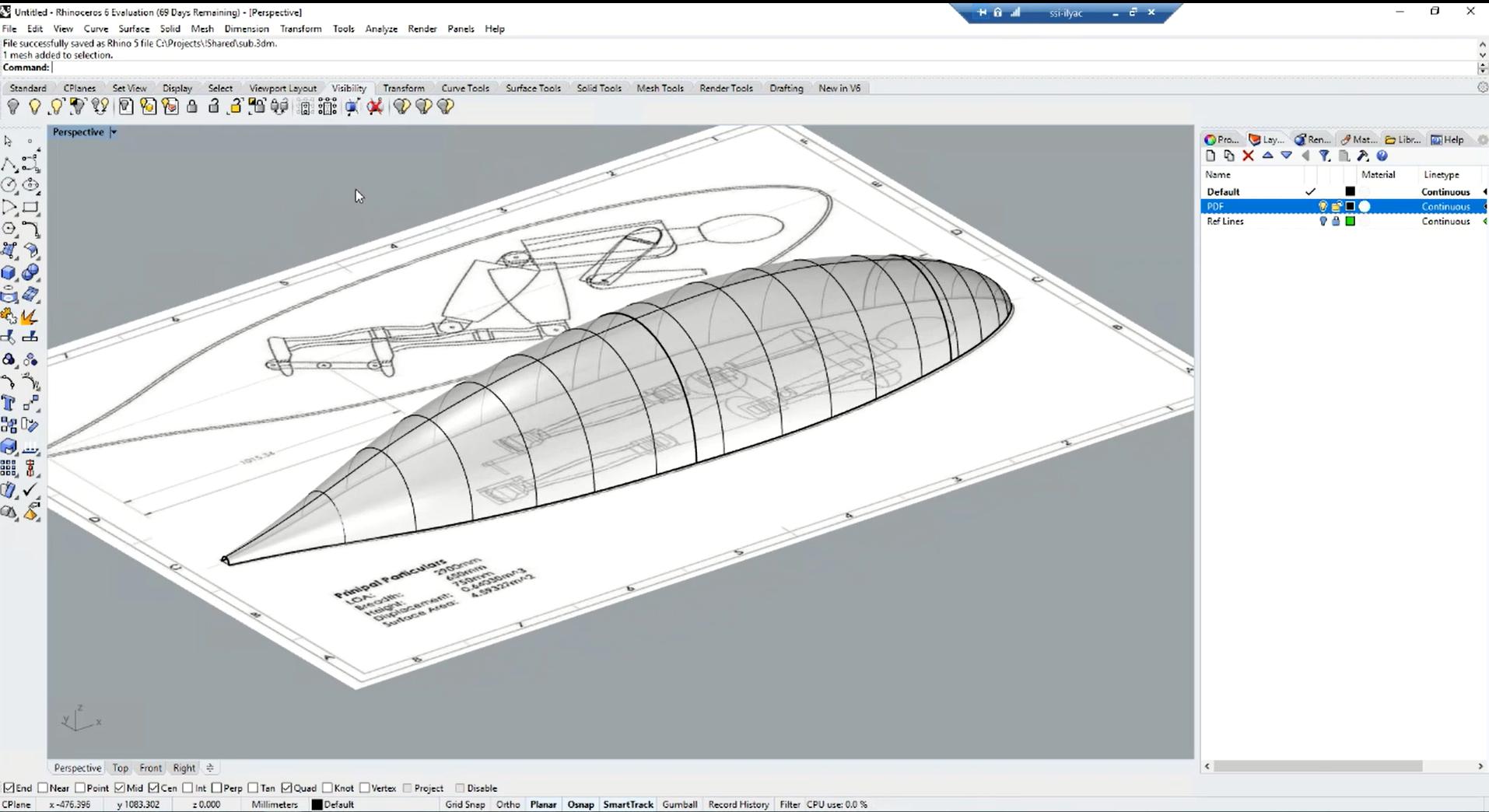 Submarine rendering in Rhino