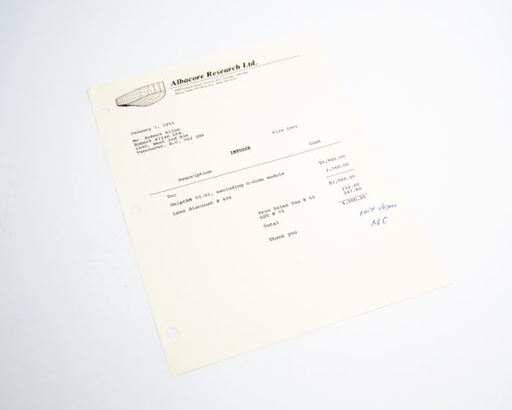 First invoice to Robert Allan