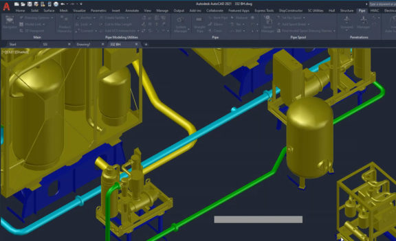 Rapidly create a 3D piping system
